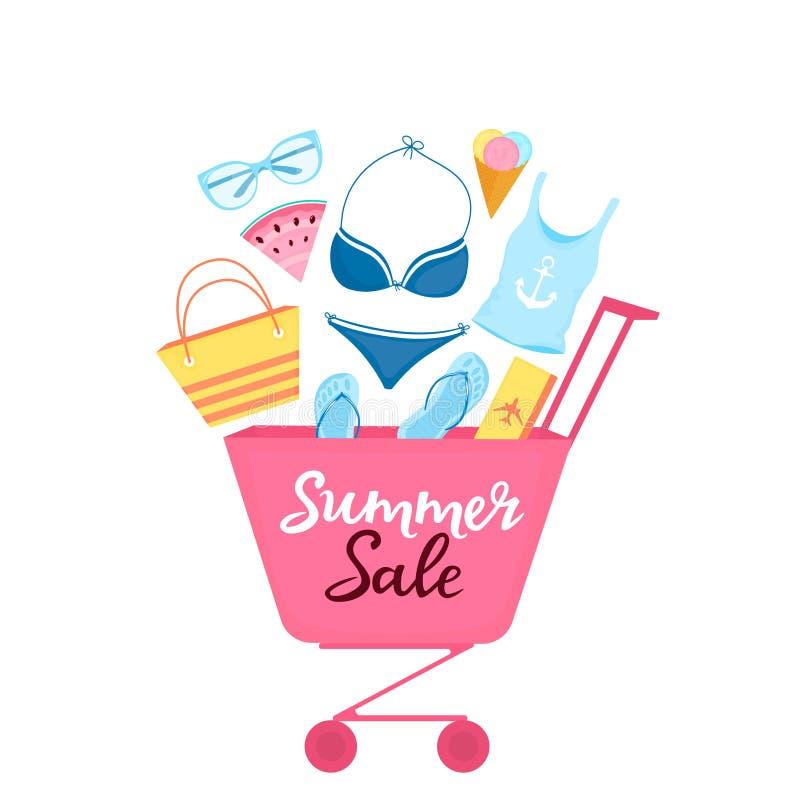 有海滩项目和辅助部件的购物的台车放松的 妇女的泳装,太阳镜,啪嗒啪嗒的响声,袋子,飞机票 向量例证