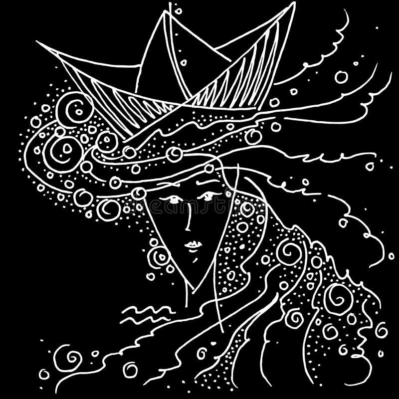 有海的黄道带标志宝瓶星座黑白画的女孩她的头发和一个帽子的以纸小船的形式 库存例证
