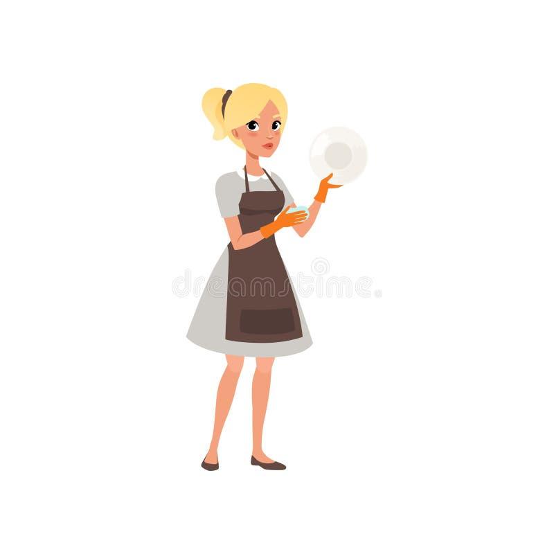 有海绵的妇女洗涤的板材 白肤金发的女孩漫画人物  制服的佣人有橡胶手套和围裙的 清洁 向量例证