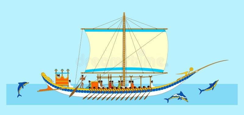 有海豚的米诺船 免版税图库摄影