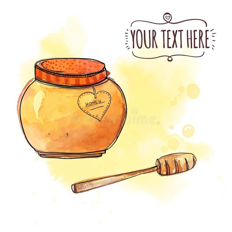 有浸染工的蜂蜜罐 传染媒介水彩例证 库存例证