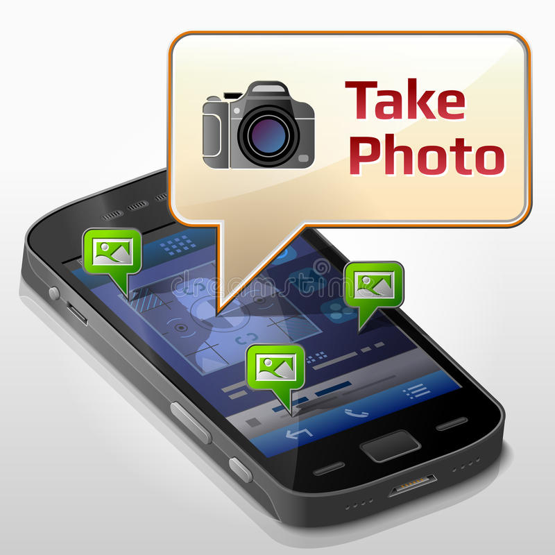 有消息泡影的智能手机关于拍摄 向量例证