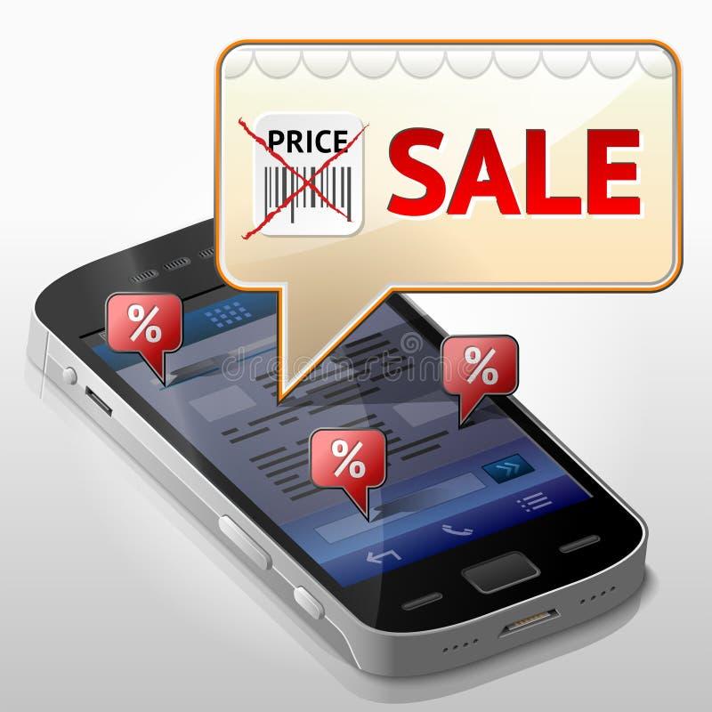 有消息泡影的智能手机关于销售 向量例证