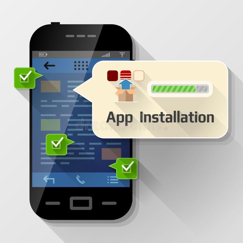 有消息泡影的智能手机关于app设施 库存例证