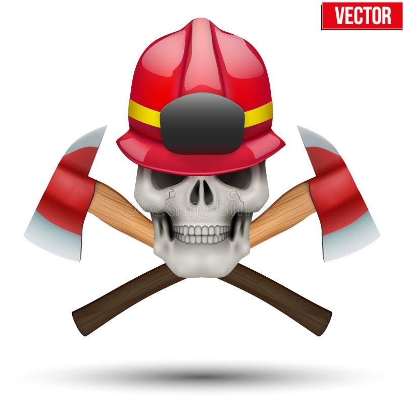 有消防队员盔甲的人的头骨 库存例证