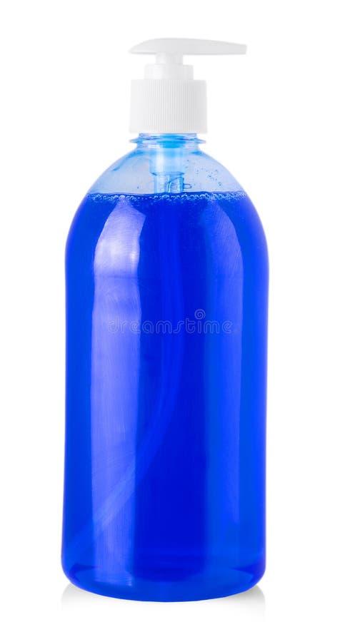 有液体洗涤剂的,清洗的阿格纳蓝色塑料瓶 免版税库存图片