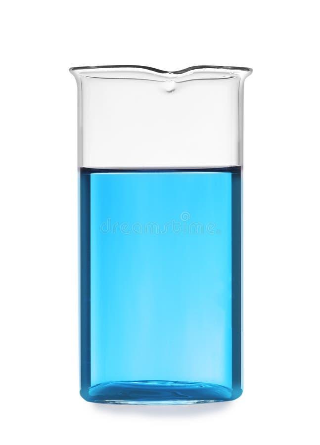 有液体的玻璃烧杯在白色背景 免版税库存照片