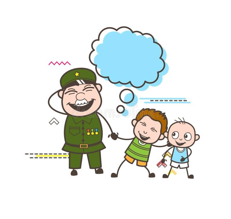 有淘气孩子传染媒介例证的快乐的军队人 库存例证