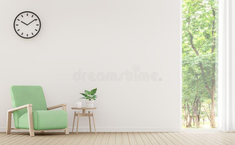 有淡色家具3d翻译图象的现代白色客厅 向量例证