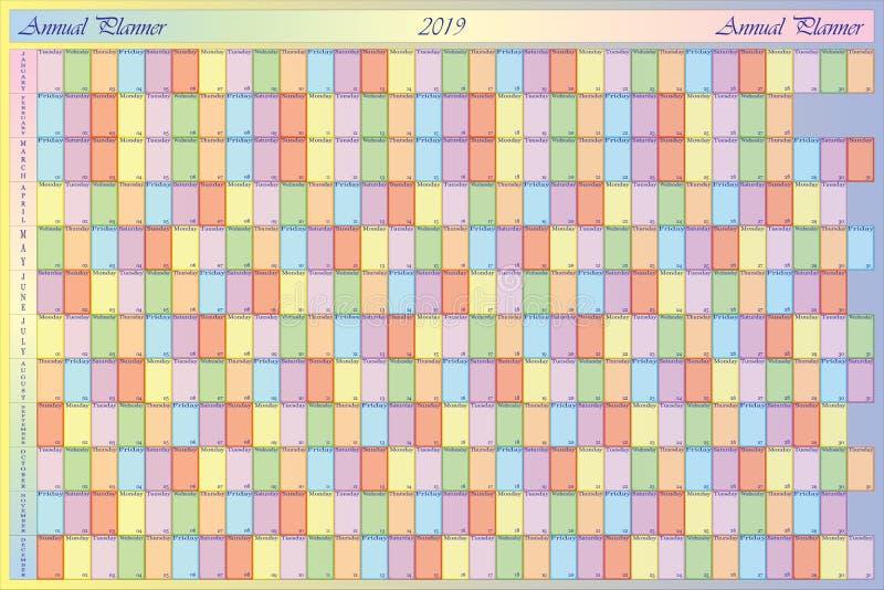 有淡色笔记和具体颜色的每年计划者2019年eac的 向量例证