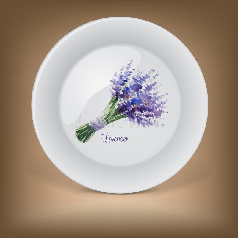 有淡紫色花束的装饰板材  皇族释放例证