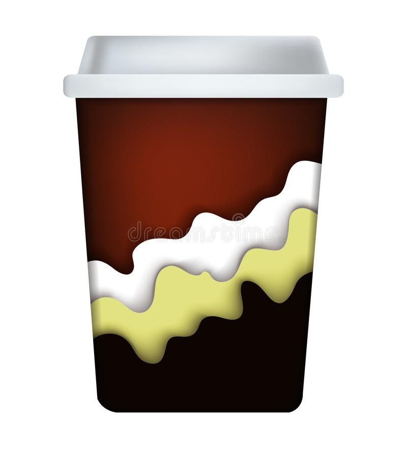 有深度阴影的咖啡杯 库存例证