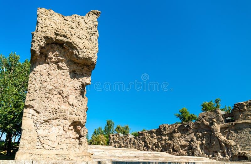 有深浮雕的被破坏的墙壁在马马耶夫小山在伏尔加格勒,俄罗斯 库存照片