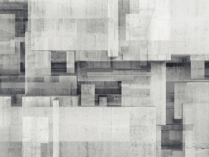 有混乱立方体样式的抽象混凝土墙 皇族释放例证