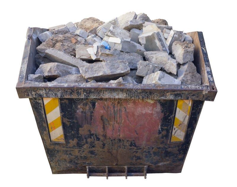有混凝土和建筑石料的钢容器 免版税库存照片