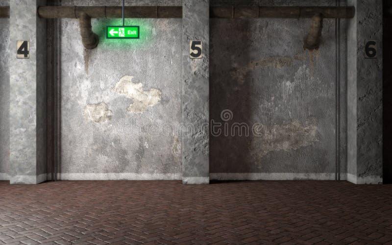 有混凝土墙和发光的出口的si工业内部室 库存例证