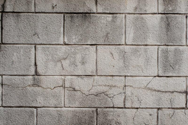 有混凝土线的外部灰色煤渣砌块墙壁  图库摄影