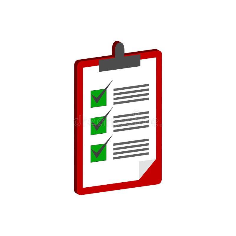 有清单标志的剪贴板 平的等量象或商标 3d 向量例证
