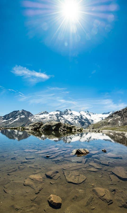 有清楚的山湖的田园诗夏天全景 免版税库存照片