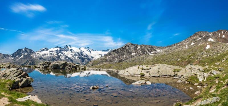 有清楚的山湖的田园诗夏天全景 免版税图库摄影