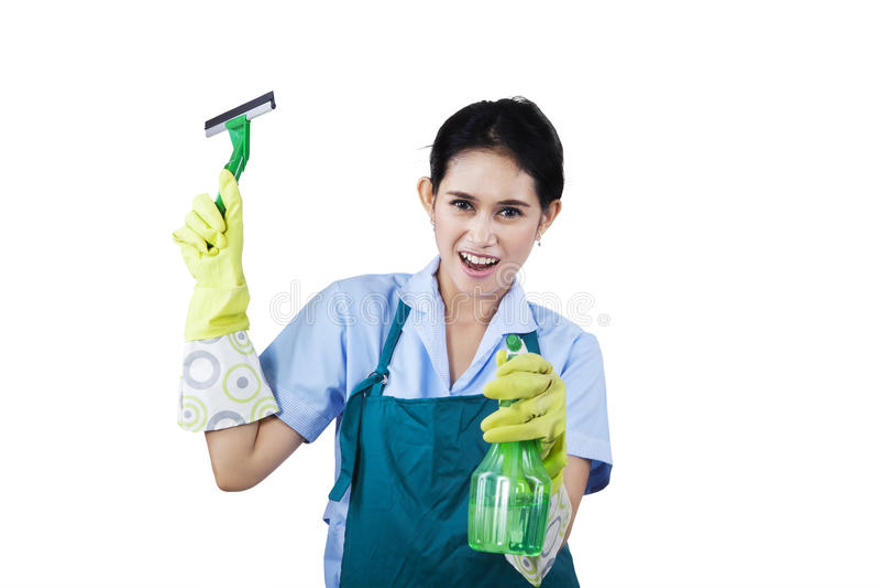 有清洁工具的旅馆佣人 图库摄影
