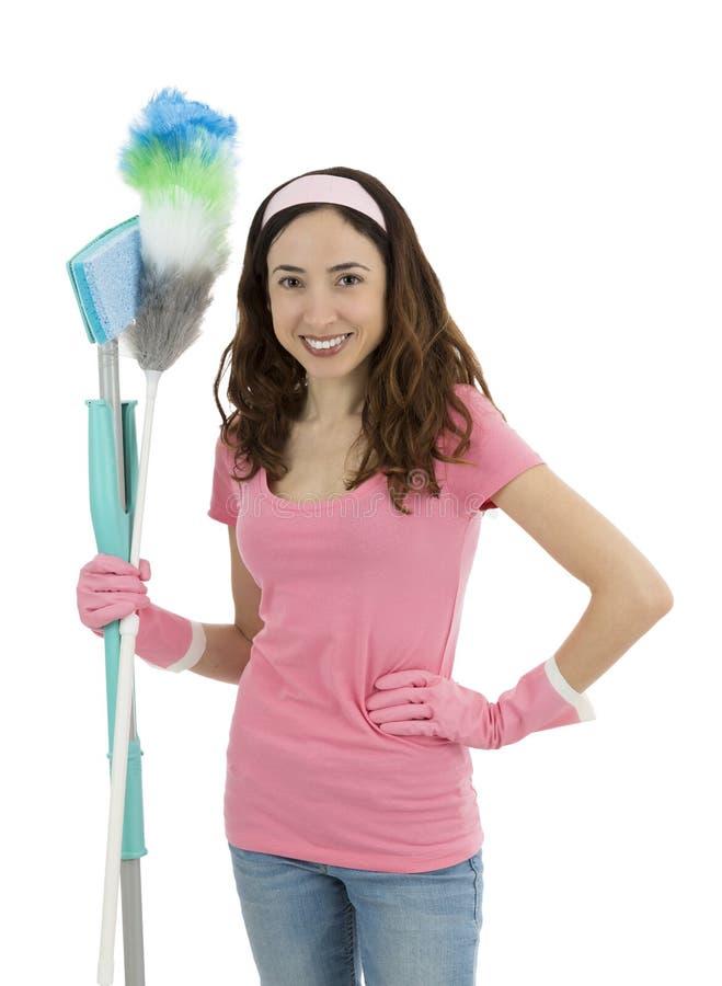 有清洁工具的主妇 免版税图库摄影