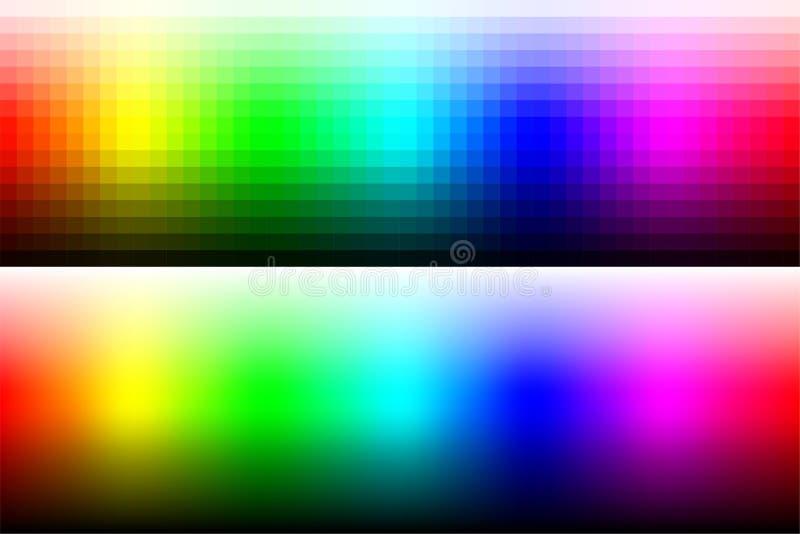 有渐进性和使光滑的颜色的色板显示RGB 库存例证