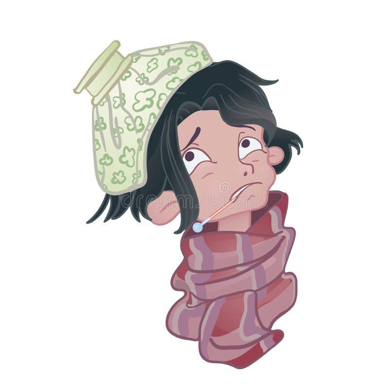 有温度计的病的年轻人在嘴和在他的头的冰袋 皇族释放例证