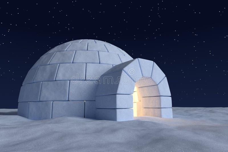 有温暖的光的园屋顶的小屋冰室里面在与星的夜空下 向量例证