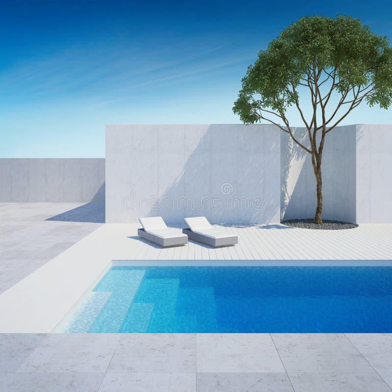有游泳场的豪华现代后院 皇族释放例证