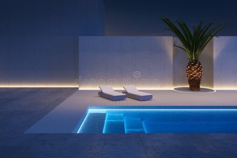 有游泳场的豪华现代后院 向量例证