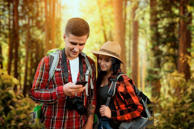 有游遍森林的背包的远足者 库存图片