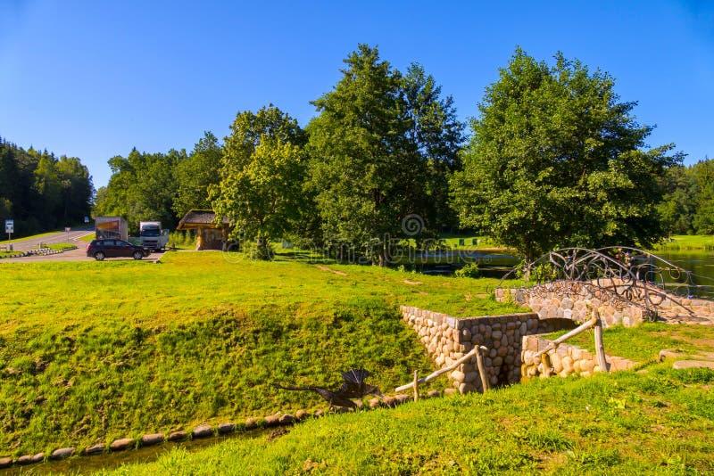 有湖的鲜绿色的公园在路附近 放松的一个巨大地方本质上 免版税库存图片