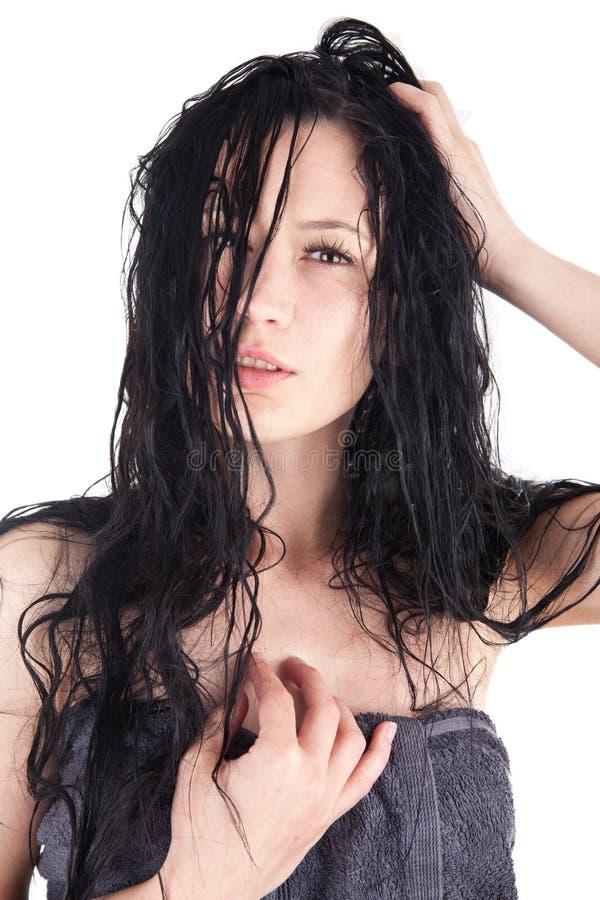 有湿头发的妇女 免版税库存照片