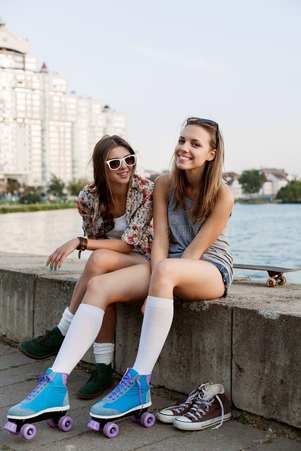 有溜冰鞋的妇女 库存图片