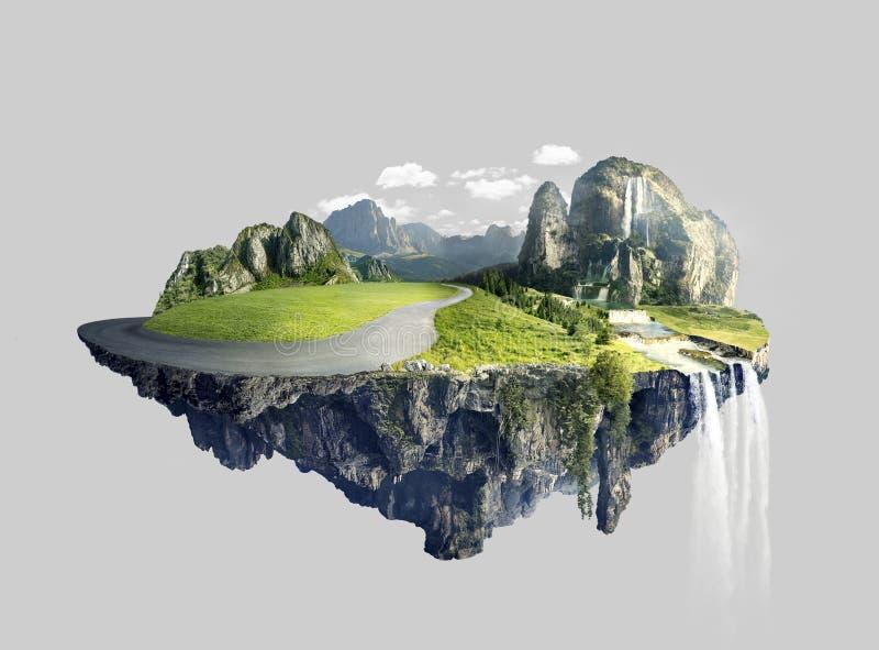 有漂浮在天空中的树丛的惊人的海岛 库存图片