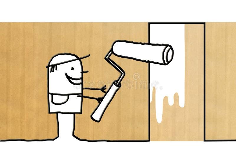 有漆滚筒的动画片工作者 向量例证