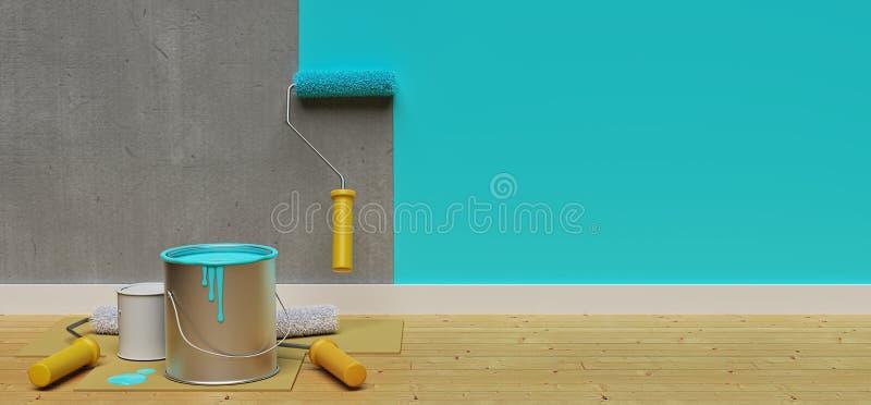 有漆滚筒的绘的墙壁 3d?? 向量例证