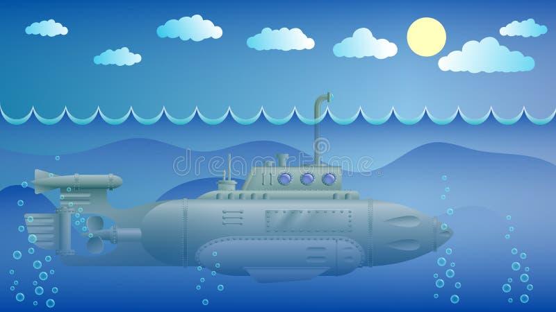 有潜望镜的潜水艇 皇族释放例证