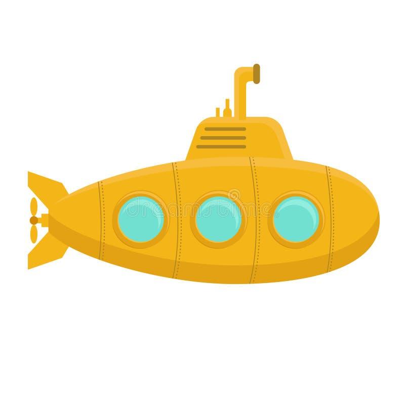 有潜望镜的黄色潜水艇 向量 皇族释放例证