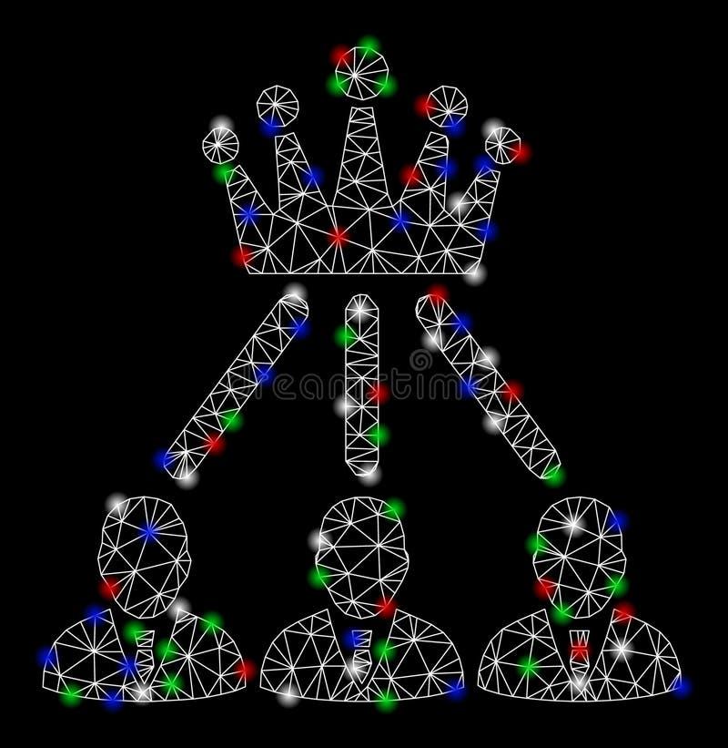 有火光斑点的明亮的网状网络管理冠 向量例证