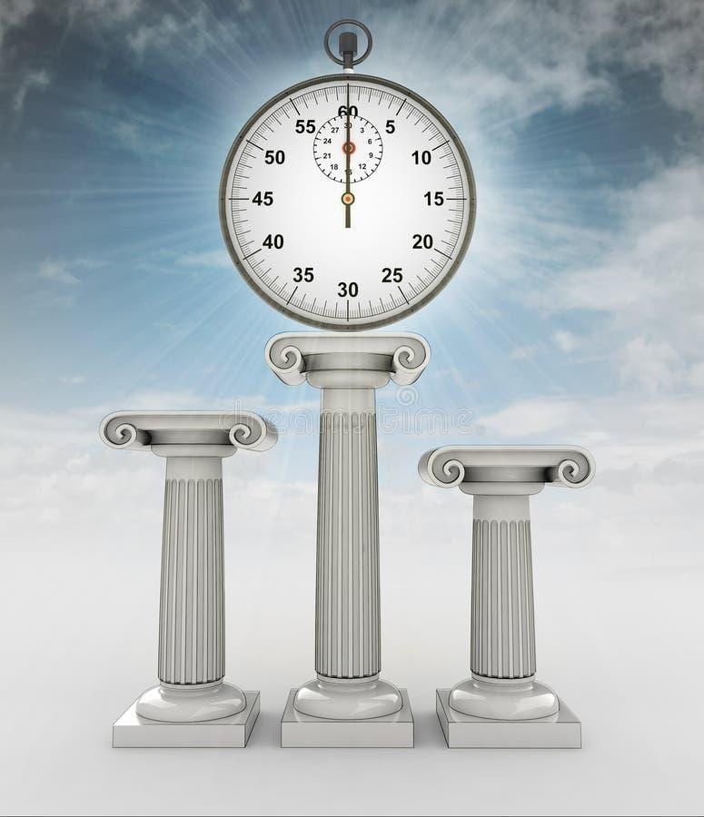 有火光的秒表在与天空的离子专栏 向量例证
