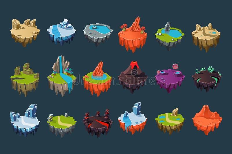 有火山、湖、瀑布、冰川、火山口、水晶和岩石的动画片等量海岛 五颜六色的平的传染媒介 库存例证