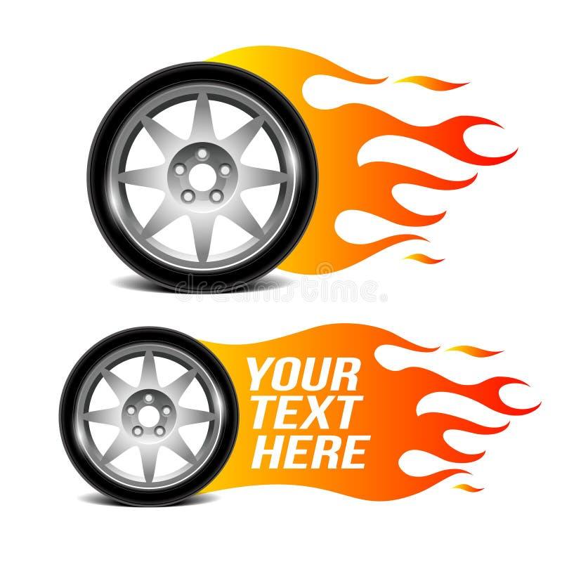 有火火焰的,汽车车轮关系了标志 库存例证