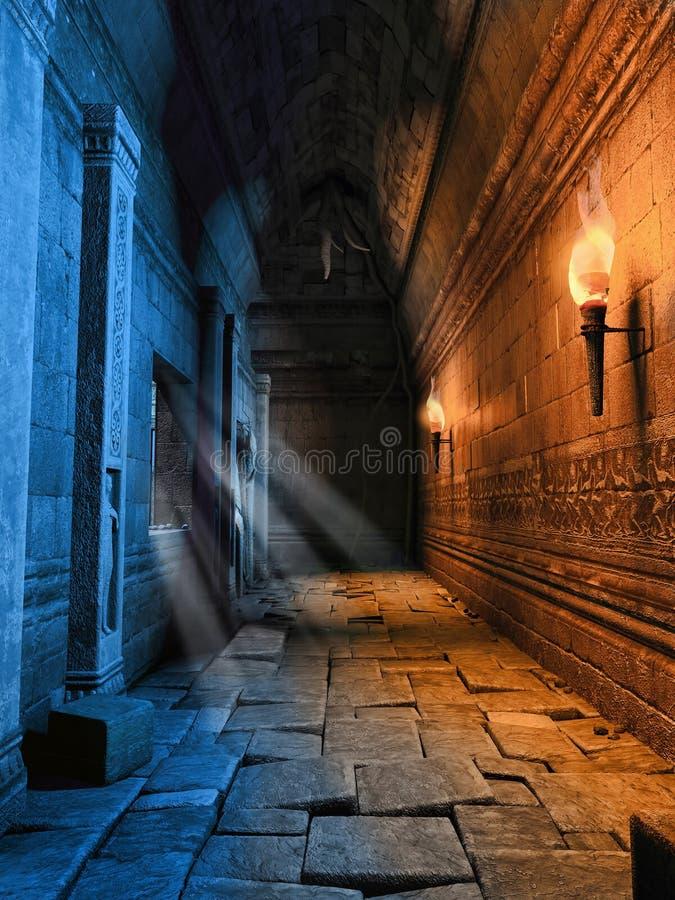 有火炬的黑暗的走廊 向量例证