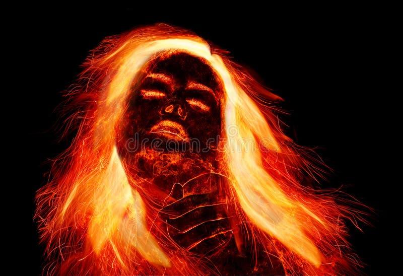 有火热的头发的女孩 免版税库存图片
