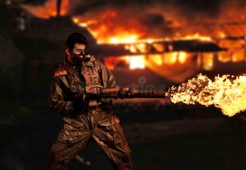 有火焰喷射器的默示录战士 库存照片