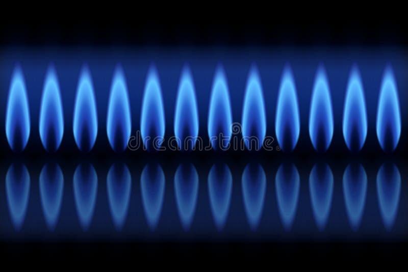 有火焰天然气的横幅燃烧器在黑背景 皇族释放例证
