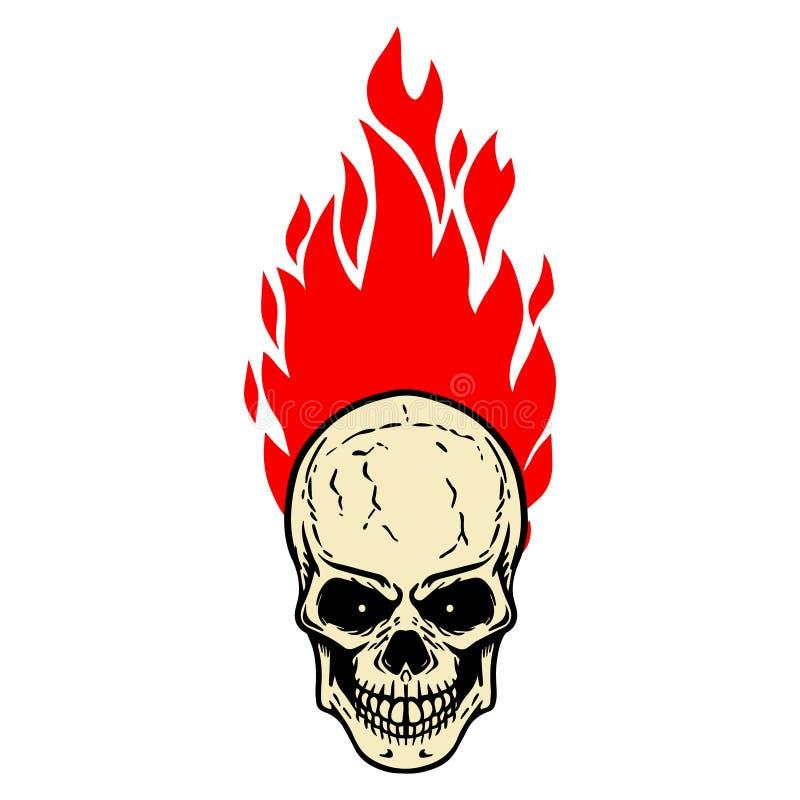 有火的头骨在白色背景 设计商标的,标签,象征,标志,徽章元素 向量例证
