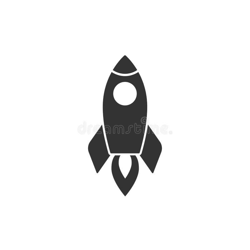 有火的火箭队船 查出在白色 平的象 与飞行火箭的传染媒介例证 库存例证